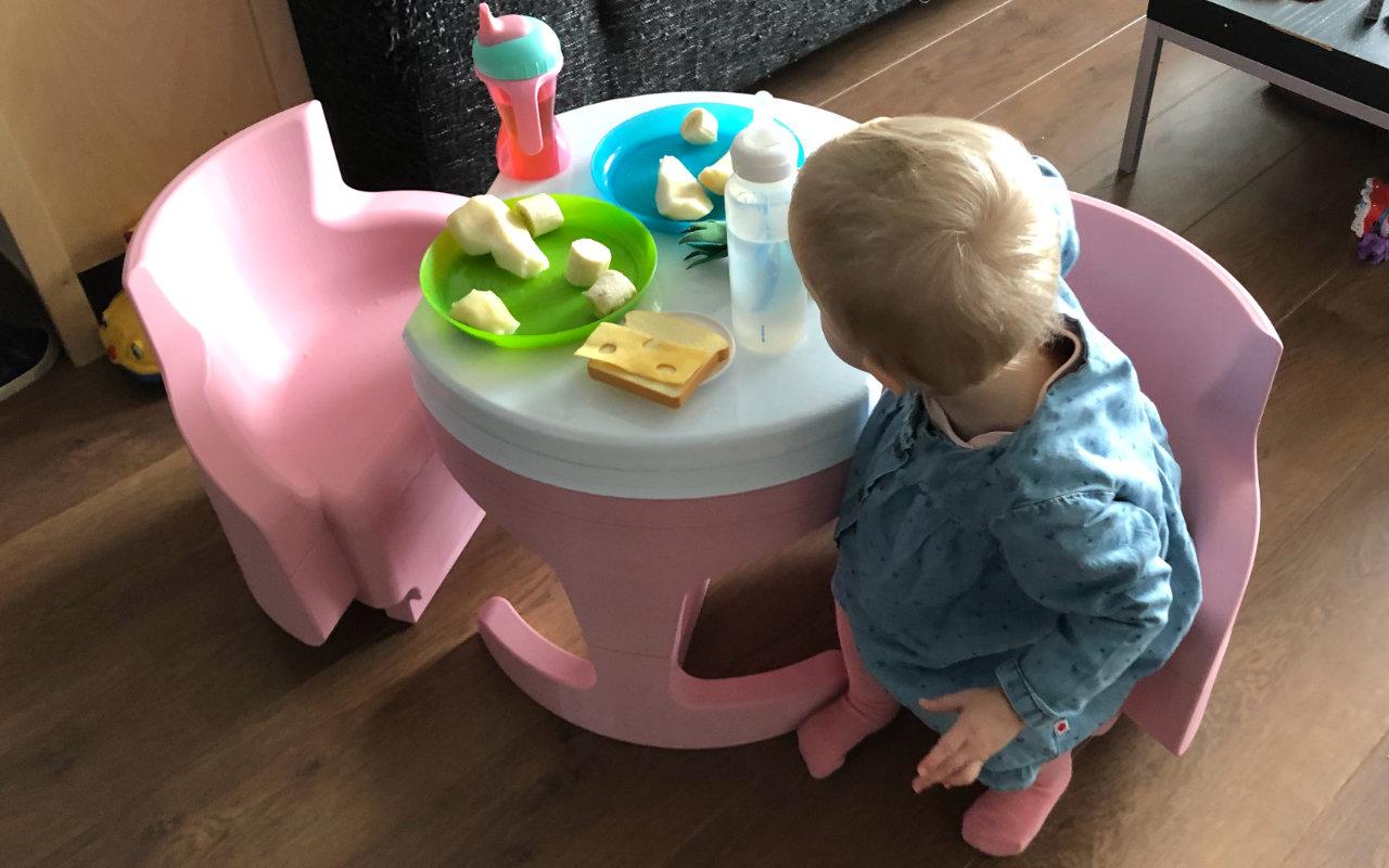 3D geprint, gepersonaliseerd compact op te ruimen meubeltje voor kinderen van 1 tot 4